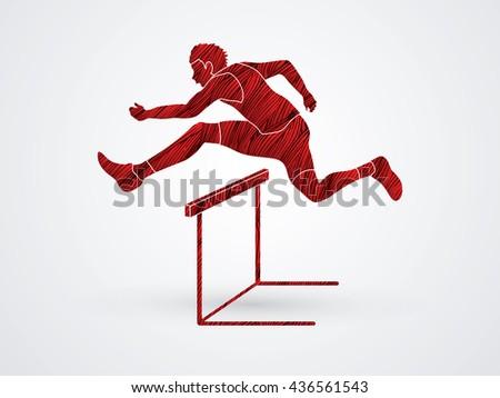 Hurdler hurdling designed using red grunge brush graphic vector. - stock vector