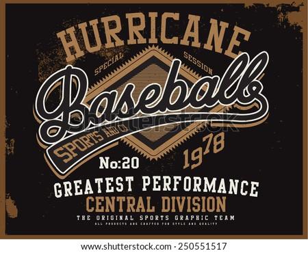hurricane baseball for tee graphic - stock vector