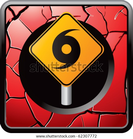 hurricane sign red cracked web buttons - stock vector