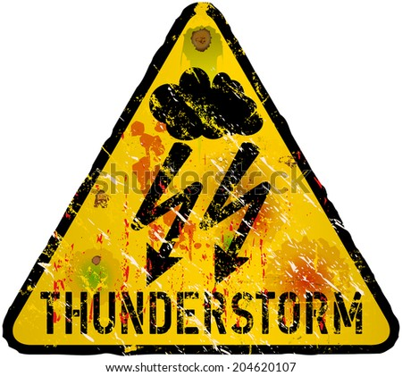 hurricane warning sign, heavy weathered, vector eps 10 - stock vector