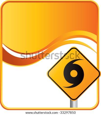 hurricane warning sign on orange wave background - stock vector