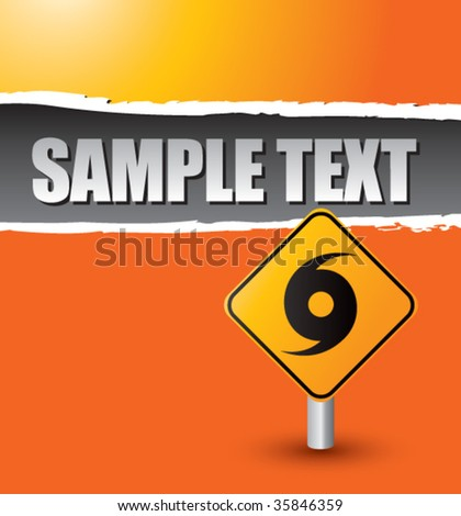 hurricane warning sign on ripped banner - stock vector