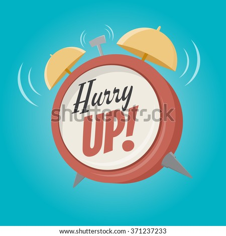 hurry up alarm clock in retro cartoon style - stock vector