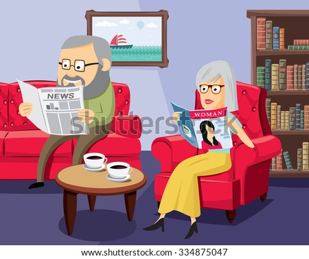 Husbands and their family life. Happy seniors on the sofa in the living room. Simple cartoon vector illustration.  - stock vector