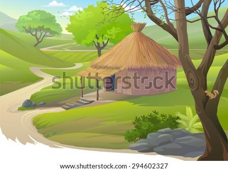 Hut along a narrow road - stock vector