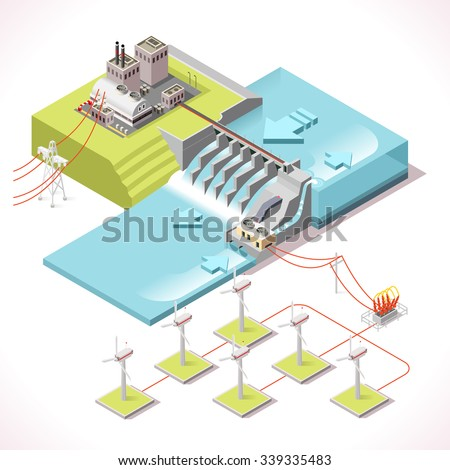 Hybrid Power Systems Hydroelectric Plant and Windmill Factory. Isometric Electric Power Station Electricity Grid and Energy Supply Chain.Harvesting Saving Management Diagram Vector Isometric Building - stock vector
