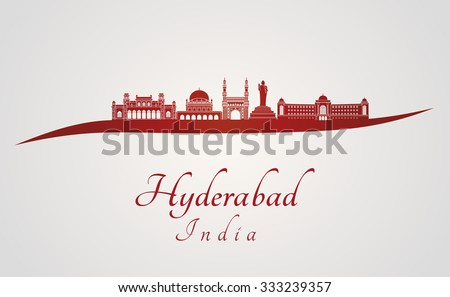 Hyderabad skyline in red and gray background in editable vector file - stock vector