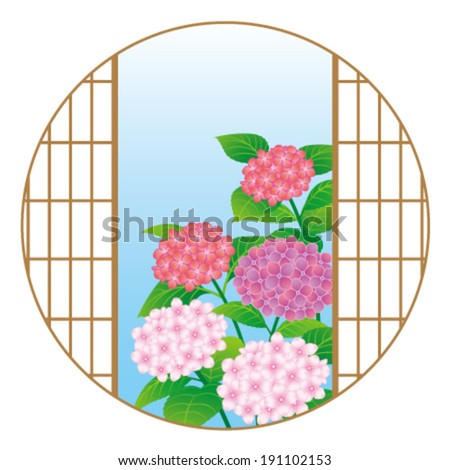 Hydrangea flowers through the Japanese window, isolated on white background. - stock vector