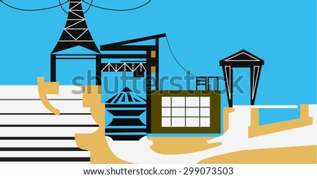 Hydro electric station - stock vector