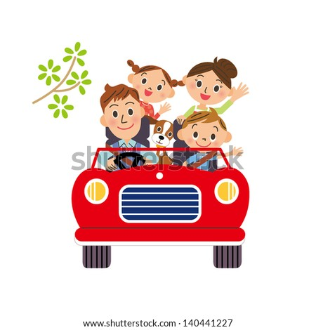 I go for a drive in families - stock vector