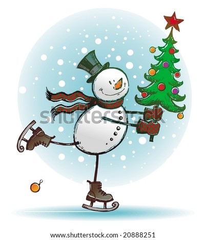 I hasten to you with Christmas tree - stock vector