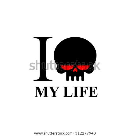 I hate my life. Sad black skull with red eyes. Logo for t-shirts. - stock vector