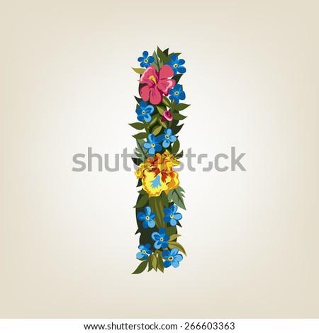 I letter. Flower capital alphabet. Colorful font. Uppercase.  Vector illustration. - stock vector