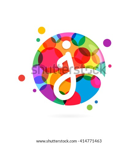 I letter logo in circle with rainbow dots. Font style, vector design template elements for your application or corporate identity. - stock vector