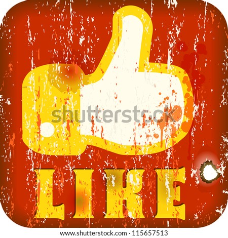 I like button in the style of a retro tin-plate sign - stock vector