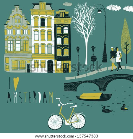 I Love Amsterdam - stock vector