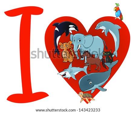 I love animals - stock vector