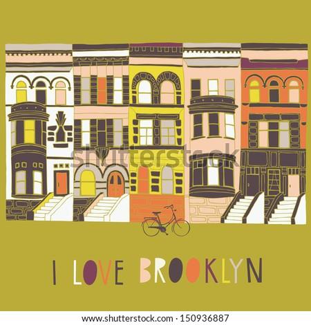 I Love Brooklyn Print Design - stock vector