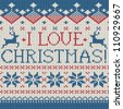 I love Christmas: Scandinavian style seamless knitted pattern with deer - stock vector