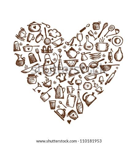 I love cooking! Kitchen utensils sketch, heart shape for your design - stock vector