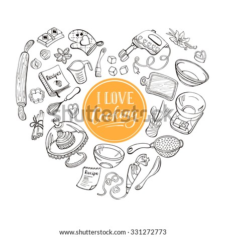 I love cooking poster concept.  Baking tools in heart shape. Poster with hand drawn kitchen utensils.  - stock vector