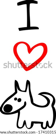 i love dog - stock vector