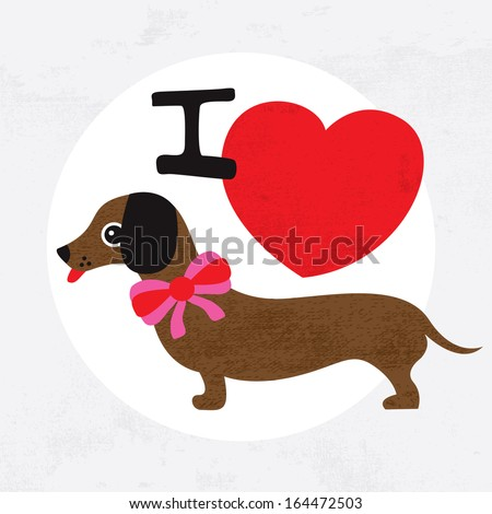 I love dogs cute dachshund illustration postcard with vintage retro details in vector - stock vector