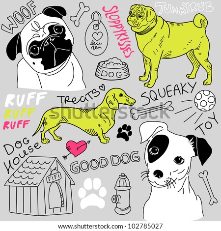 I love Dogs! vector doodles set - stock vector