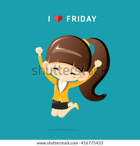 I Love Friday concept with happy businesswoman jumping in the air cheerfully-Vector Illustration - stock vector