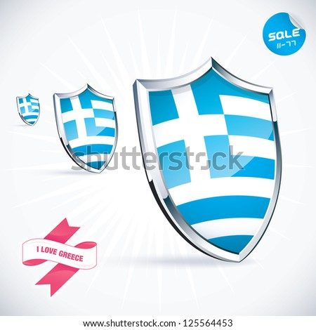 I Love Greece Flag Illustration, Sign, Symbol, Button, Badge, Icon, Logo for Family, Baby, Children, Teenager, People - stock vector