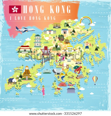 I love Hong Kong concept travel map with attractions icons in flat design - stock vector