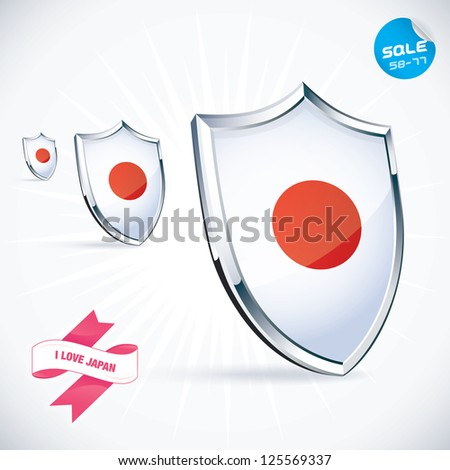 I Love Japan Flag Illustration, Sign, Symbol, Button, Badge, Icon, Logo for Family, Baby, Children, Teenager, People - stock vector