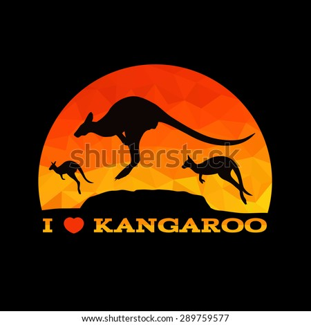 I love Kangaroo low poly abstract vector - stock vector