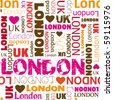 I love london typography background pattern in vector - stock vector