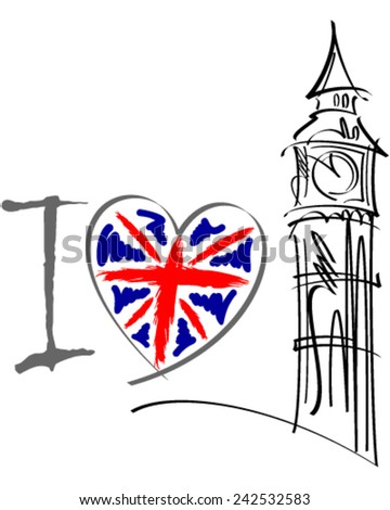 I love London vector illustration - stock vector
