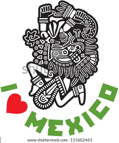 I Love Mexico Template Design - stock vector