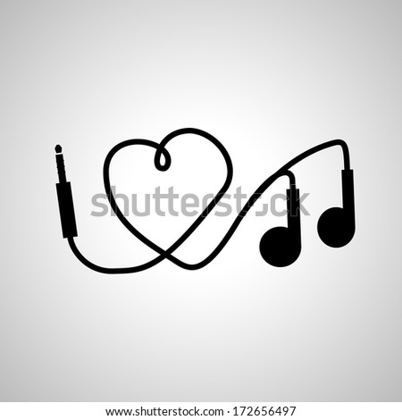 I love music. headphones - stock vector