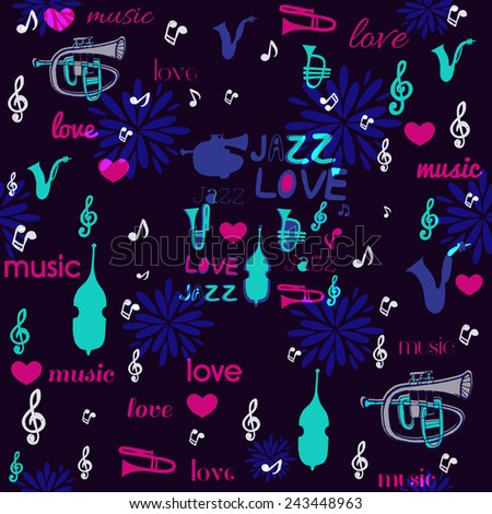 I love music seamless pattern. - stock vector