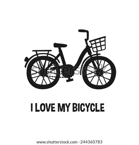 I Love My Bicycle, city bike silhouette, cartoon style vector art illustration series. - stock vector