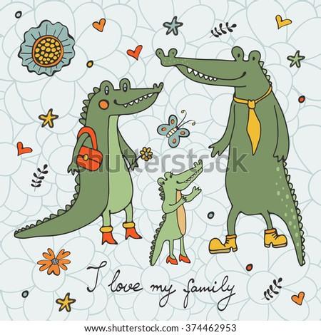 I love my family - stock vector