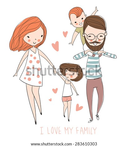 I love my family. Cute vector illustration with mother, father, son, daughter. Happy parents and children - stock vector