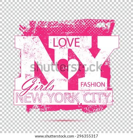 I Love New York City vintage grunge logo sign shirt for apparel - stock vector
