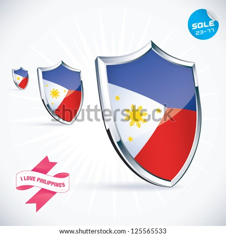 I Love Philippines Flag Illustration, Sign, Symbol, Button, Badge, Icon, Logo for Family, Baby, Children, Teenager, People - stock vector