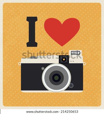 I love photography concept - retro camera design - stock vector