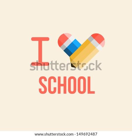 i love school, back to school illustration - stock vector