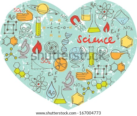 I Love Science - various science icons arranged in heart shape - stock vector