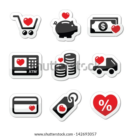 I love shopping, I love money vector icons - stock vector