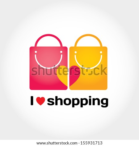 I love shopping vector sign with typography, two shopping bags and heart - stock vector