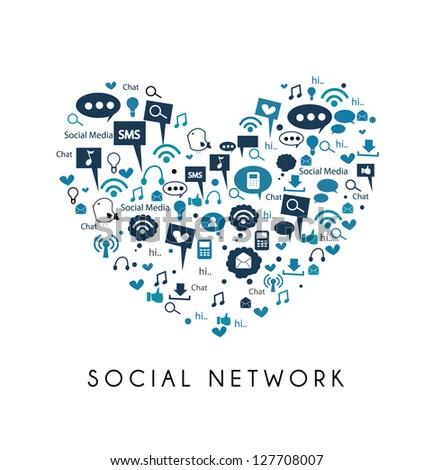 i love social media - social network - stock vector