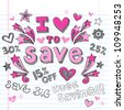 I Love to Save Sketchy Notebook Doodles Shopping Discount  Hand-Drawn Illustration Design Elements on Lined Sketchbook Paper Background - stock vector